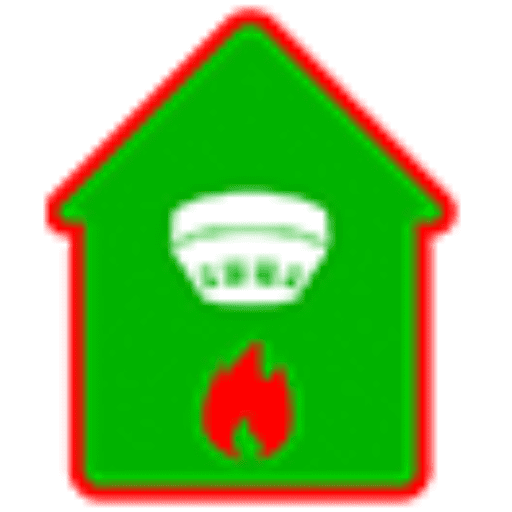 icon of green house witth red flame below a white smoke detector